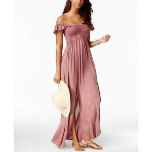 RAVIYA Blush Maxi Off Shoulder Boho Dress LG NWT